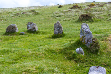 Standing Stone Circle in Dartmoor National Park