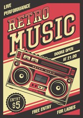 Retro Boombox Music Tape Recorder Radio Old Vintage Signage Poster Vector