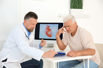 Male doctor working with patient in clinic. Cardiology consultation