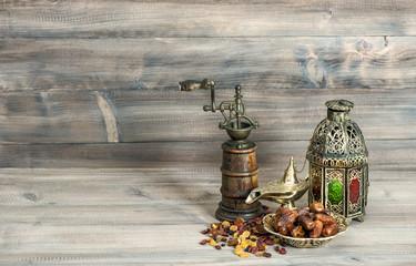 Vintage oriental latern mill raisins dates Islamic holidays