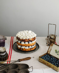 Creamy cake with blueberries