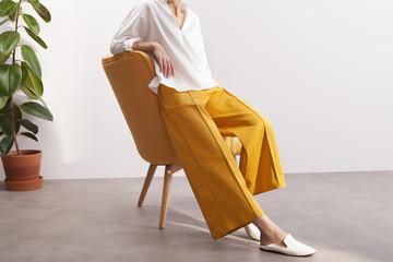 fashionable woman wearing culottes