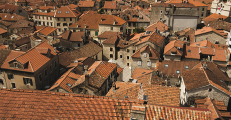Old town of Kotor /look from above on rooftops and streets.