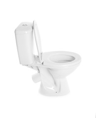 New ceramic toilet bowl on white background
