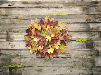 Autumn wreath of leaves on an old wood background
