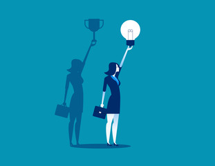 Businesswoman with idea bulb and successful shadow. Concept business vector illustration, Flat business cartoon, Trophy, Holding, charactor style.