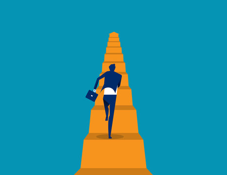 Business running move up. Concept business vector illustration, Flat business cartoon, The way forward, Character style design.