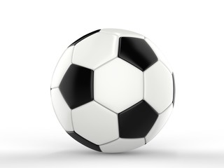 Classic black and white football - side view - closeup shot