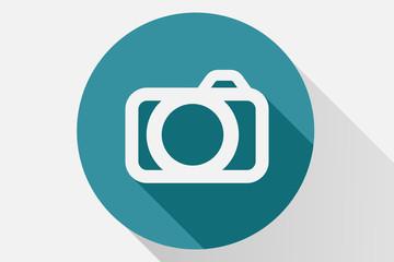 Icono azul de cámara de fotos.