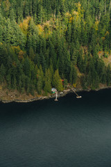 Aerial View From Seaplane in British Columbia of Docks and Homes