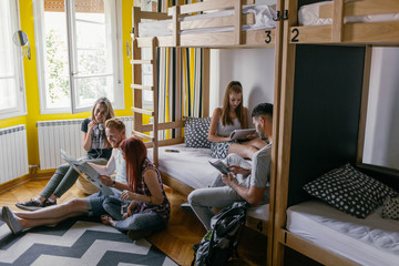 Young People in Hostel Bedroom