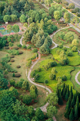 urban park scenery with curved path view from above,nanjing