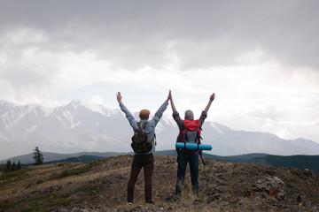 Happy travelers enjoying views