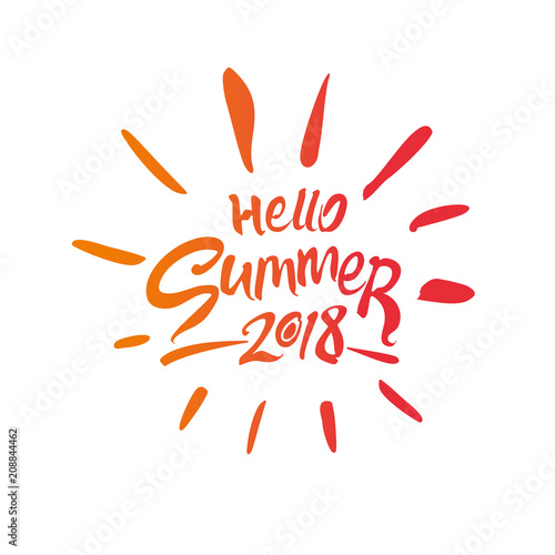 hello summer 2018 seasonal logo in the shape of the sun flat