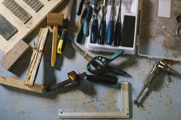 Woodworking tools at the workshop
