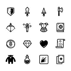 Fantasy game icons with White Background