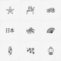 Japan line icon set with ninja, japanese sandals and japanese language