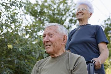 Supportive senior couple enjoying beautiful day outdoor