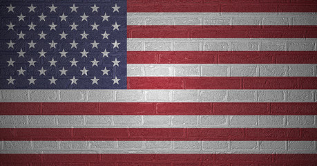 Flag of the United States of America on brick wall, 3d illustration