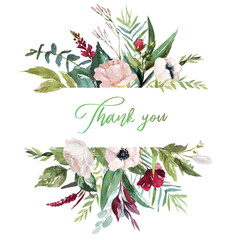 Watercolor floral illustration - flowers and leaves border / frame, for wedding stationary, greetings, wallpapers, fashion, background. Eucalyptus, olive, green leaves, anemone, peony, roses, etc.