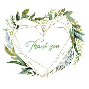 Watercolor floral illustration - leaf wreath / frame with gold heart shaped geometric, for wedding stationary, greetings, wallpapers, fashion. Eucalyptus, olive, green leaves, etc.