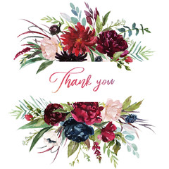 Watercolor floral illustration - burgundy flowers border / frame for wedding stationary, greetings, wallpapers, fashion, background. Peony, dahlia, rose, anemone, eucalyptus, olive, green leaves, etc.