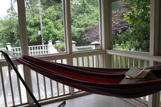 A waiting hammock and book.
