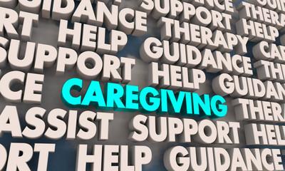 Caregiving Assistance Help Support Caregiver Words 3d Render Illustration