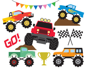 Set of monster truck or off road truck vector illustration.