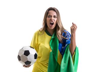 Brazilian female fan isolated on white background