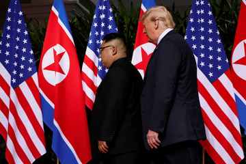 U.S. President Donald Trump and North Korea's leader Kim Jong Un hold a summit at the Capella Hotel on the resort island of Sentosa, Singapore
