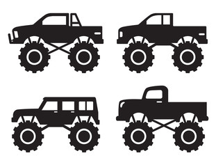 Vector illustration of monster pick up truck silhouette set.