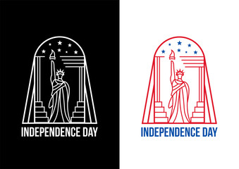 Fourth of july independence day of the USA. Line logo Statue of Liberty.