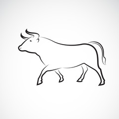 Vector of bull design on white background, Wild Animals, Vector illustration. Easy editable layered vector illustration.