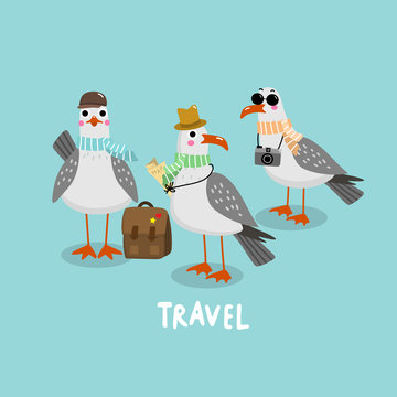 Seagull on vacation. Travel doodle. Bird character. Cute cartoon.