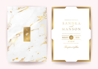 Wedding invitation cards with Luxury gold marble texture background and geometric pattern vector design template Wall mural