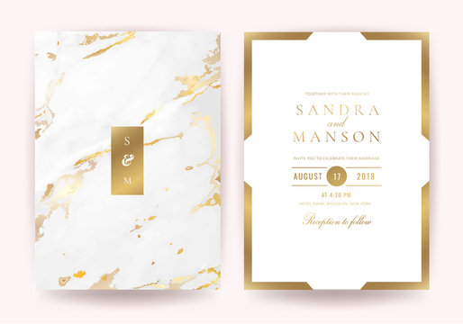 Wedding invitation cards with Luxury gold marble texture background and geometric pattern vector design template