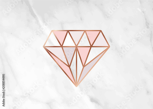 Geometric Rose Gold Heart Shape With Marble Background Texture