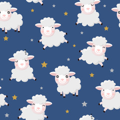 cute sheeps and stars seamless pattern and background