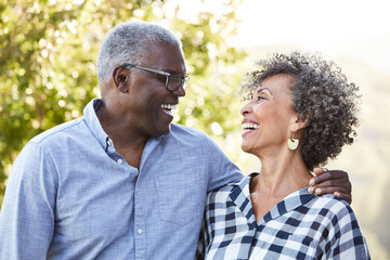 African American Senior Couple together outdoors in nature