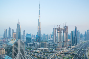 Burj Khalifa and the busy Sheik Zayed Road in Dubai during the blue hour
