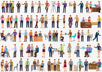 Business character man and woman working office colleague doing meeting, confrence, presentation Wall mural