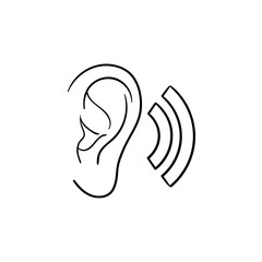 Human ear with sound waves hand drawn outline doodle icon. Human ear as a concept of listening and sound vector sketch illustration for print, web, mobile and infographics isolated on white background