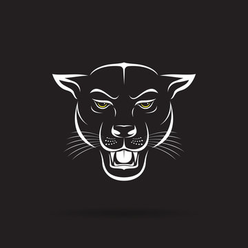 Vector of an angry panther head on black background. Wild Animals. Vector illustration. Easy editable layered vector illustration.