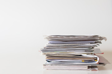 Pile of mails on white background Wall mural