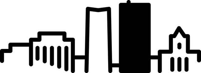 Simple icon illustration of the skyline of the city of Akron, Ohio, USA in black and white.