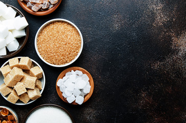 Different kinds of sugar in the assortment, top view