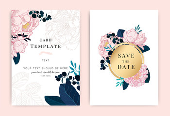 Wedding invite, invitation, rsvp, save the date card design with elegant peony pink garden rose anemone, wax flowers eucalyptus branches leaves, cute golden geometrical pattern. Vector template set