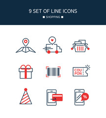 Red Point shopping Line Icon Set