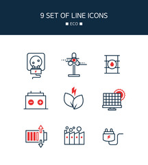 Red Point eco Line Icon Set